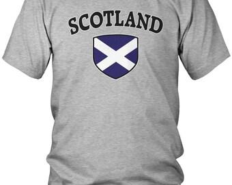 Scotland Flag Crest Men's T-Shirt, Scottish Flag, Scots, Pride, Men's Scotland Shirts AMD_SCO_03