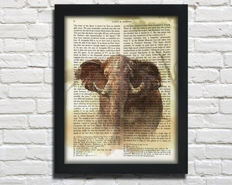 Elepahant, printed on Vintage Paper - dictionary art print, book prints