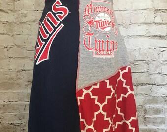 Minnesota Twins t-shirt skirt; upcycled t-shirt skirt