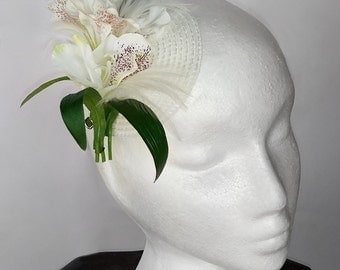 Cream and Lilac Flowers with Cream Feathers Fascinator