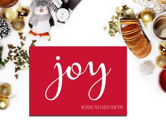 New Years Card 2017, happy new year card, holiday card,  printable cards, white red greeting card, joy card DIY, New Year Card Holiday Cards