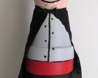 Hand-Painted Clay Pot Vampire Shelf-Sitter Figurine