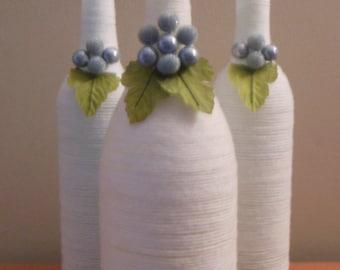 White Wine Bottles, Upcycled Wine Bottles, White Centerpiece