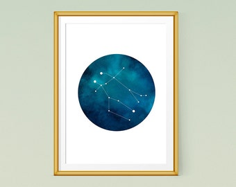 "Gemini zodiac print, Constellation art, Printable zodiac poster 11x14"" and 8x10"" Instant Download"