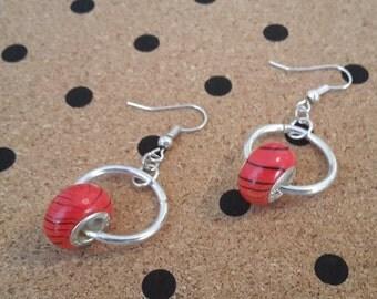 Orange & Black Swirl Earrings