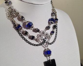 Gothic Indigo Necklace / Victorian Crystal Blue Necklace / Dark Jewelry / Victorian Goth Jewellery / OOAK Leliel Necklace