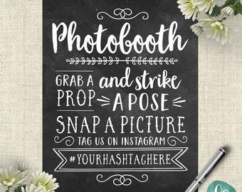 Chalkboard Photo Booth Sign / Wedding Photo Booth Sign / Instagram Wedding Sign Printable Wedding Photo Props / Wedding Printable Signs