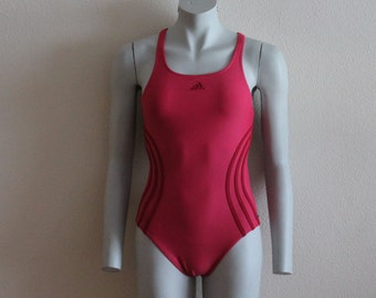 ADIDAS Pink Vintage One Piece Swimsuit Sport Womens Swimwear Open Back Swimsuit Beach Pool Swimsuit Bathing Suit