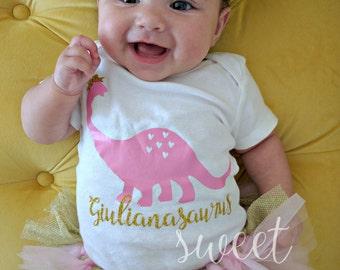 Baby Girl Pink Dinosaur, Personalized Dinosaur Shirt, Girly dinosaur, Girl's dinosaur shirt, personalized shirts, dinosaur shirts