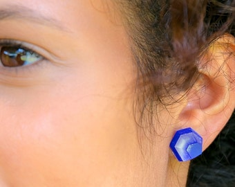 Handcrafted perspex earring red or blue