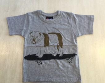 Childrens Skatboarding Bulldog T-shirt