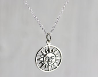 Sun Necklace - Sterling Silver Smiling Sun Necklace - Large Sun Pendant - Celestial Necklace  Sunshine Necklace You are my Sunshine Necklace