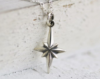 North Star Necklace - Sterling Silver North Star Necklace - Northern Star Necklace - Polaris Necklace  Graduation Gift  Find Your True North