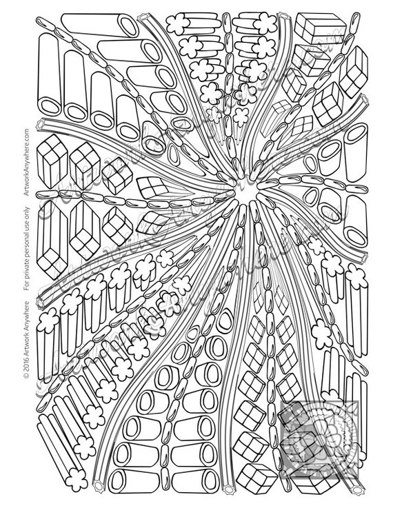 Items similar to Licorice Zip Good Swirl a Plenty ~ Adult coloring page digi stamp ~all sorts of ...
