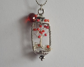Lantern Pendant Necklace, Tree of life, Red Lantern.