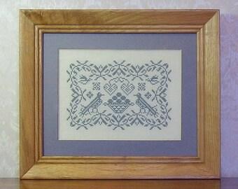 Cross Stitch PDF Pattern Birds And Basket