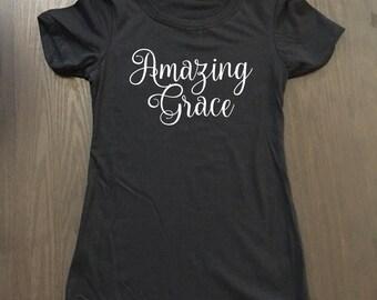 Amazing Grace Tee Shirt - Faith Tees - Christian Apparel - Christian Shirts - Religious Shirts