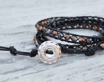 Leather Wrap Bracelet w/ Iridescent Beads