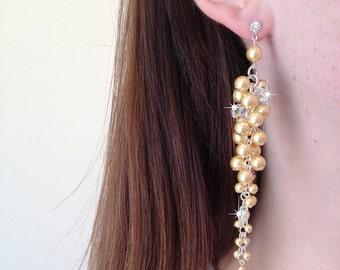 Swarovski Crystal Elements Bridal Cream Pearl Earrings Long Cascade Cluster Statement Wedding Jewelry Gift