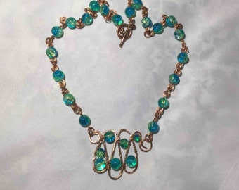 Glass Bead Copper Wireworked Necklace