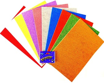 Self Adhesive Craft Glitter Foam 10 Sheets, A4 Assorted Colours