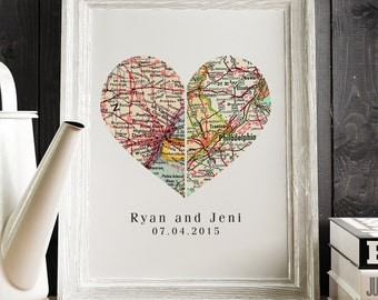 ANNIVERSARY PRINT Heart Vintage City Map Print, 2 Cities Map wall art, Custom Wall Print, Boyfriend Gift, Gift for Valentines Day Gift