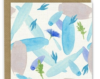 Blue floral pattern, watercolour, blue pattern, note card, greeting card