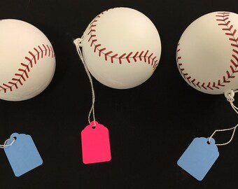 3 Gender Reveal Baseballs (Color combination of choice) (Labeled individually)