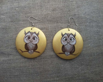 Gift for girlfriend Painted Wooden Earrings Earrings Owl. Gift for her Wood Jewelry