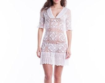 White Handmade Crochet Lace Dress