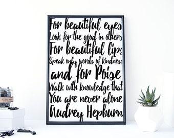 Audrey Hepburn wall art, Audrey Hepburn print, printable quote, Inspiring typography, minimalist, scandinavian, Audrey quote print, digital