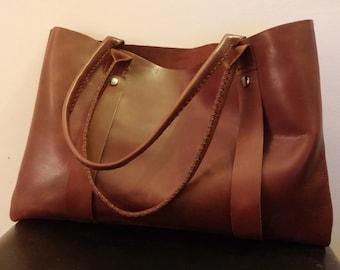 Brown leather handmade shoulder bag