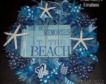 Beach Wreath, Beach Mesh Wreath, Nautical Wreath, Ocean Wreath, Summer Wreath, Summer Mesh Wreath