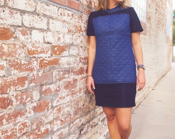 Navy blue re-designed dress made from an old house coat and a cool mesh fabric. An upgraded t-shirt dress.
