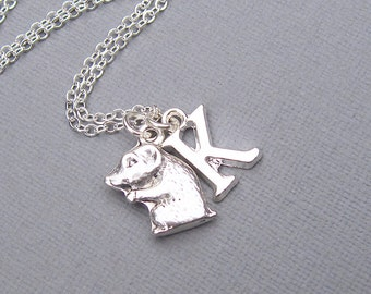 Silver hamster necklace, personalized hamster pendant, silver letter charm, customized gift for her, pet jewelry, rodent charm necklace