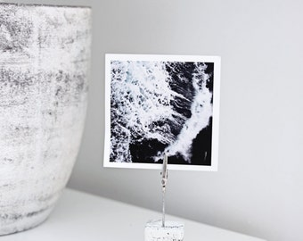 Hand Made Concrete Photo Holder (Wedding table number place card holder) - White concrete marble design (1)