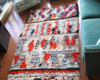 """Vintage Moroccan berber """"Boucherouite"""" rug 4'8""""x7'5"""""""