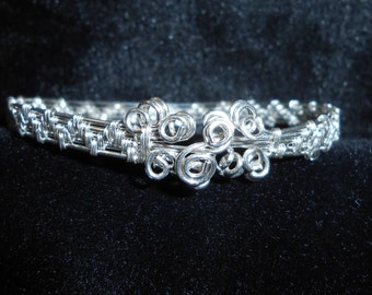Sterling and Fine Silver Bracelet - Hand Weaved - Elegant