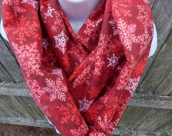Red and White Snowflake Infinity Scarf