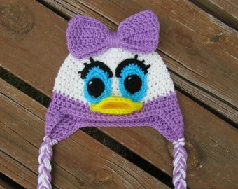 Daisy Duck Hat/Crochet Daisy Duck Hat/Minnie Mouse/Baby Shower Gift/Crochet Gift/Kid's Hat/Crochet Winter Hat/Photo Prop