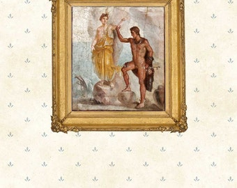 Print of fresco Perseus and Andromeda , Pompeii.Decor Giclee Antique Matte Paper Canvas Classic Roman art Greek mythology