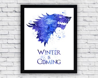 House Stark Games of Thrones Watercolor print, House Stark Games of Thrones Printable Wall Art, House Stark Games of Thrones poster