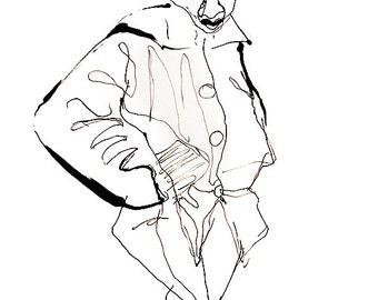 "Original Artwork - Vintage Artwork - ink drawing of figure on india paper, 23"" x 17"""