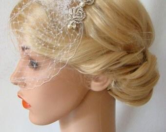 Bird Cage Veil, Ivory Birdcage Veil and Fascinator, Silver Hair Comb, 2 Pieces Set, Detachable Veil