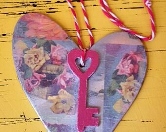 Key to my heart romantique, argent brillant suspendus coeur en bois