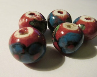 Vintage Hand Painted Purple Brown Ceramic Beads with Blue Floral Beads, 15mm, Set of 5