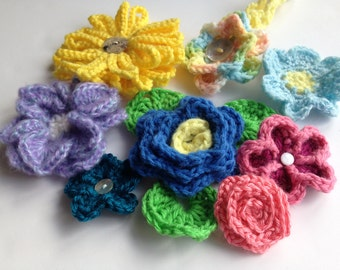 Instant download - Crochet PATTERN (pdf file) –Flower Collection #1: EIGHT beautiful flowers plus FREE headband pattern included