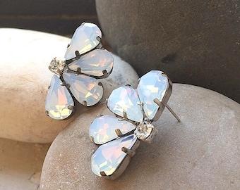 White Opal Bridal Vintage Style crystal Earrings, White Opal swarovski clip on  earrings, Wedding Opal Stud  earrings,  gift earrings
