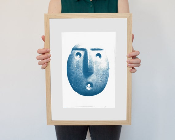 Andean Head Sculpture Emoticon, Ancient Emoji Cyanotype on Watercolor Paper, A4 size