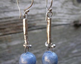 Silver and blue ceramic bead earrings